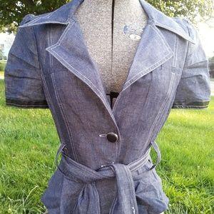 Arden B Belted Jacket Denim Style Medium M